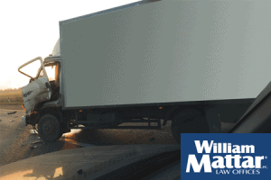 Box truck damaged from accident