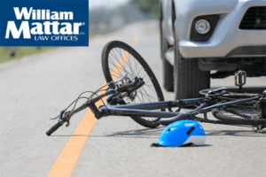 Bicycle in road that has been hit by a vehicle